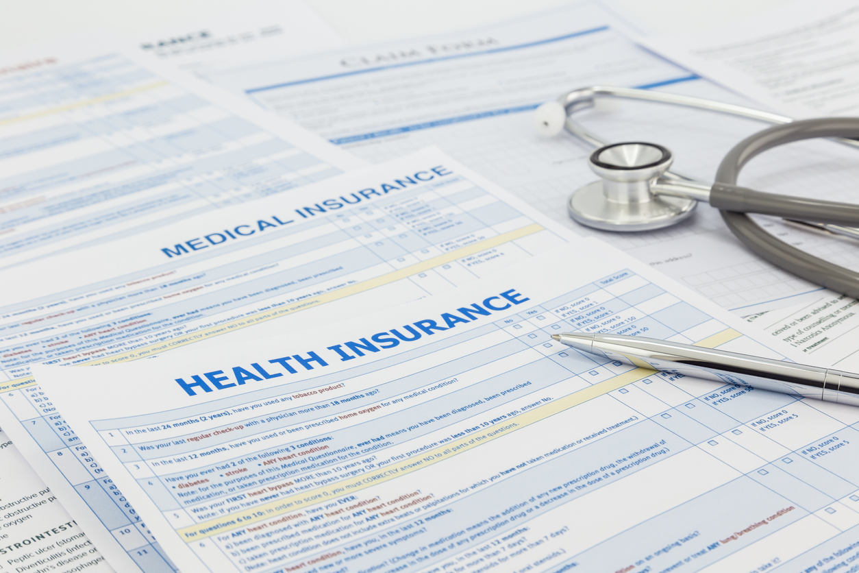 Medical health insurance plan application showing terms and conditions.